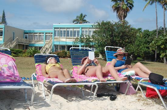 Crystal Cove Beach Resort on Sapphire Bay: Relaxing on Sapphire Beach - condos in the background