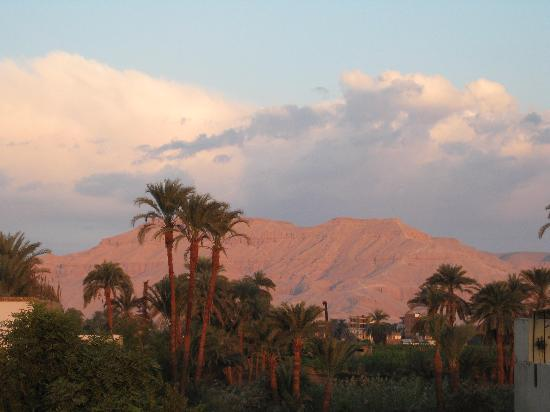 Senmut Luxor B&B: Looking toward the Valley of the Kings from the terrace.
