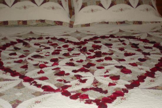 Gaines Landing Bed and Breakfast: Rose petals on the kings size bed