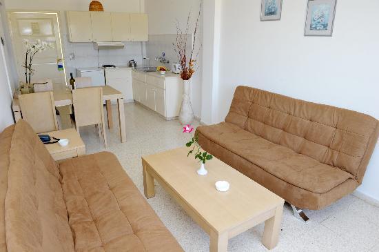 Alkionest Hotel Apartments: sitting-kitchen area