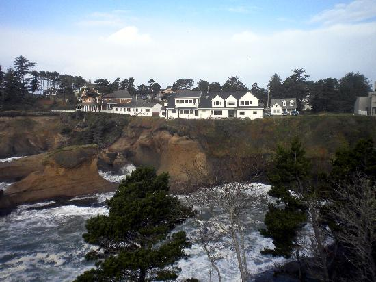 View of the Inn at Arch Rock from Downtown Depoe Bay