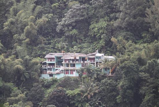 Naguabo, Puerto Rico: The main lodge as seen from the forest trail across the valley