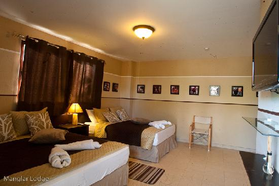 manglar lodge view of one of our rooms with 2 queen size beds.
