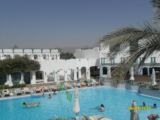 Falcon Hills Hotel: Pool area - part of the Sinai mountains are visible in the background