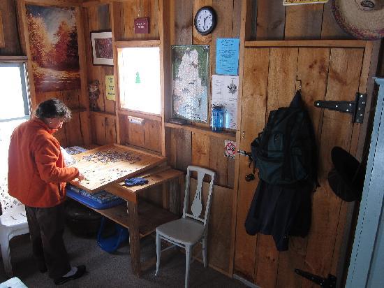 Wayne, ME: Warming hut, group-effort puzzle in progress