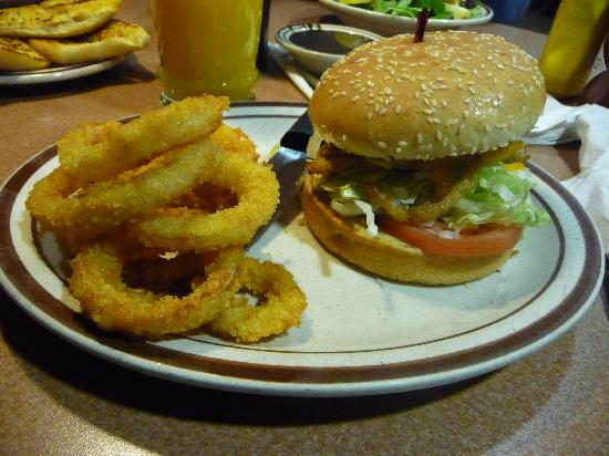 Denny's: Onion Ring & Cheese burger