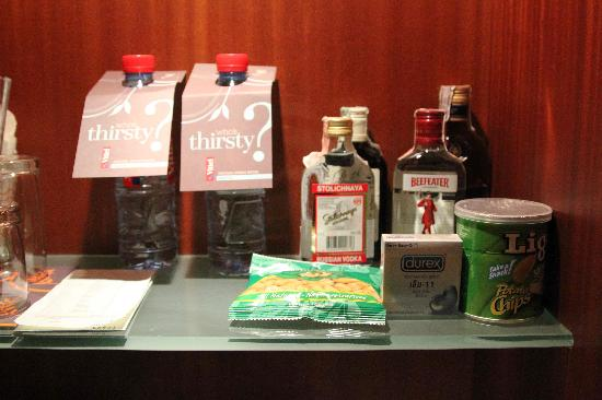 Mini bar...complete with condoms