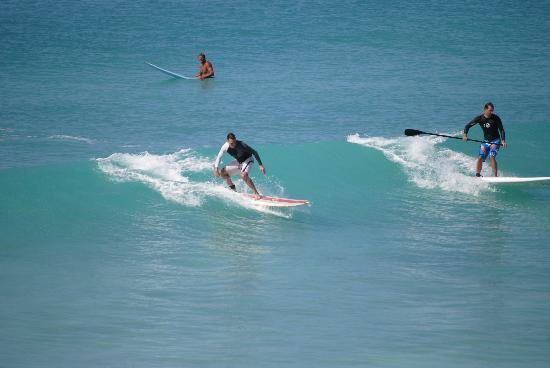 Barbados Surf Trips: My husband catching a wave at Freights