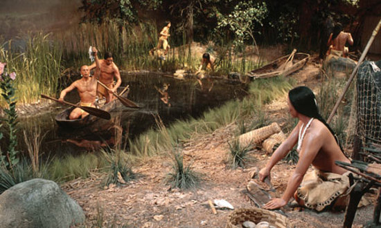 Mashantucket, CT: Pequot Village Exhibit. A fishing scene in the half-acre, walk-through diorama depicting 16th ce