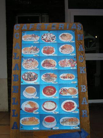 Cafeteria Calabella: menu