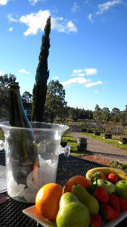 Hunter Valley Cooperage Bed & Breakfast: the $433.00 wine and 'gorumet fruit platter'