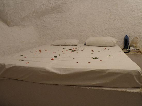 Hotel Marhala: Petal strewn bed, lovely but need to be cleared off before you settle down.