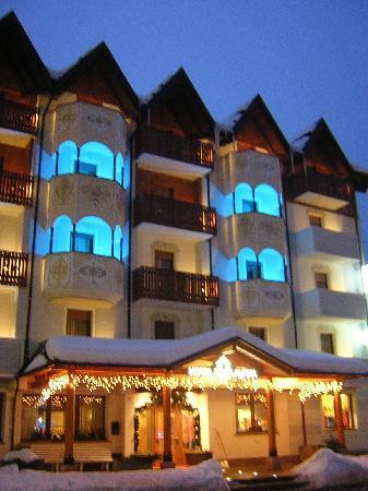 Hotel Rosa Alpina: Hotel in notturna