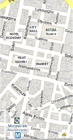 Economy Hotel: map from metro station monastiraki