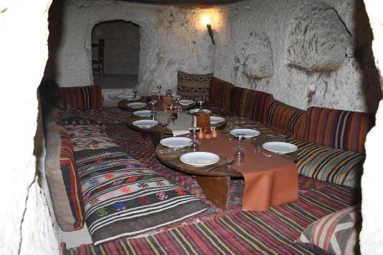 Reliable Travel: Fantastic resturant inside a fairy chimney in Cappadocia!!  We all sat on the mats on the floor