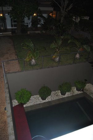 Durban View Guest House: View from the roof overlooking the bach yard, swimming pool and studio