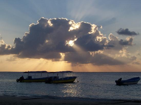 Bananarama Beach and Dive Resort: sunset on a beach with dive boats