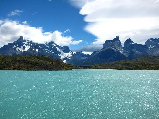 Torres del Paine National Park, Chile: panoramic view from Lago Pehoe