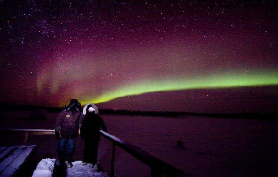 Bettles, AK: Us with the aurora at the float pond