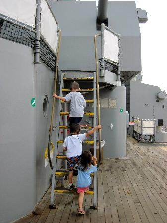 Battleship Missouri Memorial: this isn't even one of the steep sets of stairs