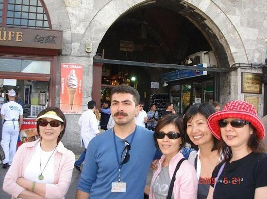 Turkey Tours by Local Guides: Ozkan is pausing for a group picture in front of Spice Market