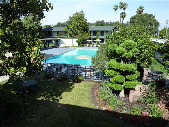 Visalia, Californië: La piscine entourée de végétation