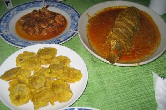 Sabana de la Mar, République dominicaine : Dinner - fish coconut sauce, shrimps creaole sauce, fried green banana