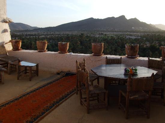 Dar Infiane: Dachterrass mir Blick auf Palmenoase
