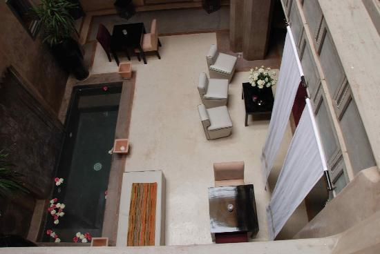 Riad Dar One: The courtyard viewed from above