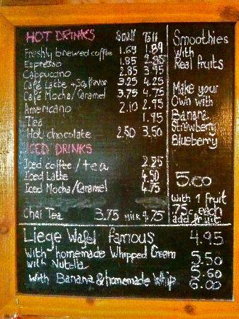 The Tuckaway Bagel & Wafel Cafe : Coffee Menu