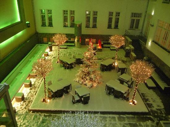 The Levante Parliament: The fairytale courtyard from our room at night
