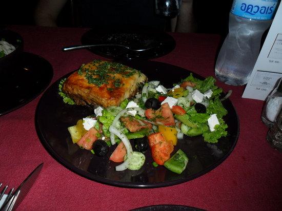 Red PInn : Moussaka and Greek salad