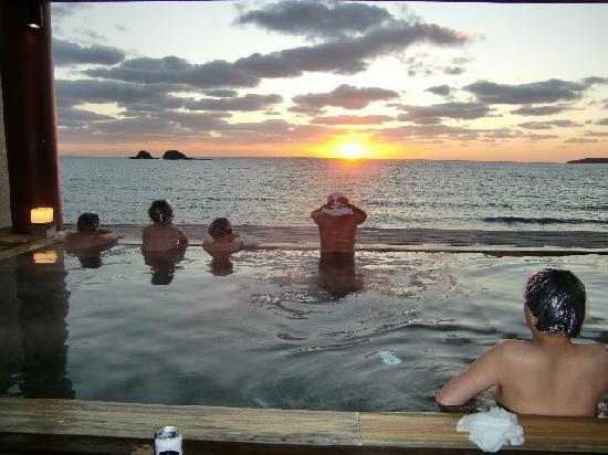 Hotel Nishi-Nagato Resort : 露天風呂からの夕陽