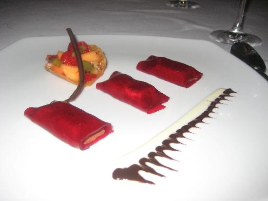 Iberostar Grand Hotel Rose Hall: Chocolate mousse wrapped in beet gelatin..sounds weird but tasted great!