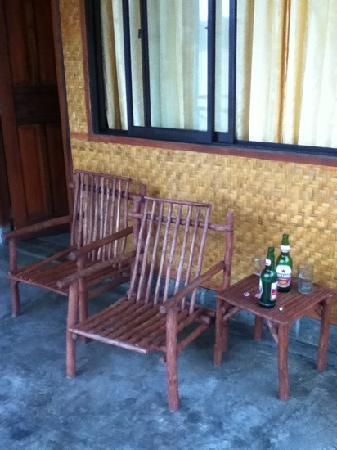 Nostalgia Yasin Bungalow: Our seaside balcony.