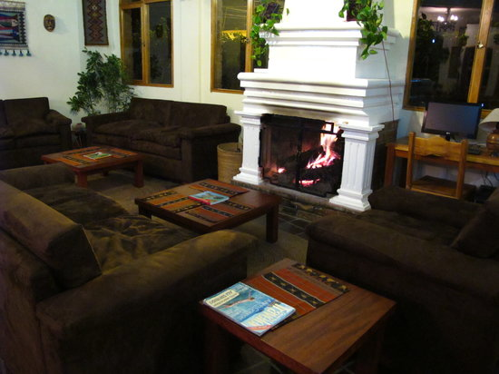 La Posada del Quinde: The fireplace lounge is a favorite spot to relax.