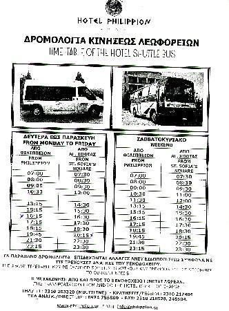 Hotel Philippion: Fahrplan vom Shuttlebus