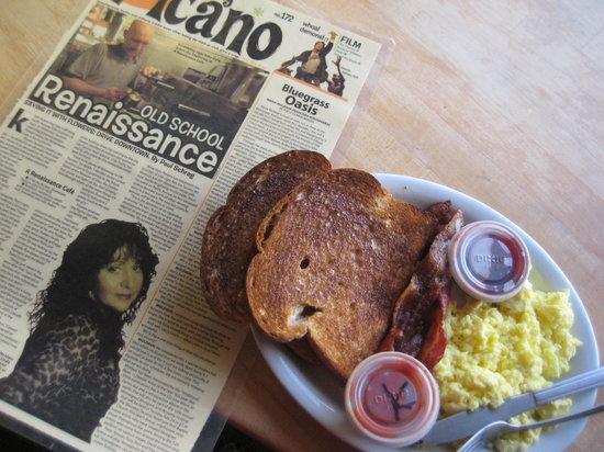 Renaissance Cafe: My breakfast: scrambled eggs, bacon, and toast.