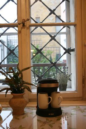 Alice Apartment House: in heaven they have little Czech coffee makers that sit by grated windows looking out over the c