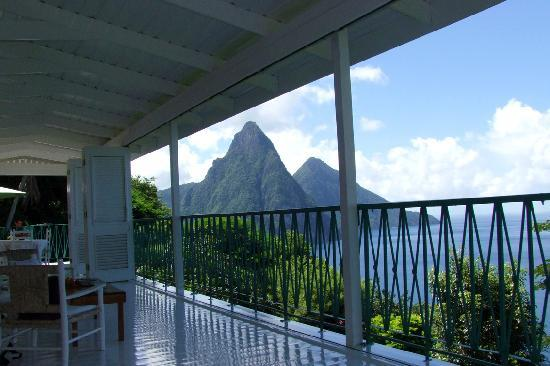 Marigot Bay, St. Lucia: View of Pitons from Villa Alegria