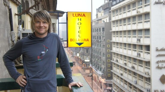 Hotel Luna : To find it from the street, look up for the yellow sign. Our room balcony
