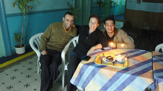 Hotel Luna : Sharing anniversary cake with Luna staff (Tarek is on the right)