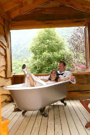 The Resurgence: The cottage with the footed tub in our wedding attire!