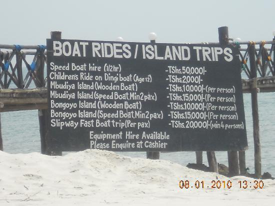 Jangwani Seabreeze Resort: Boat prices
