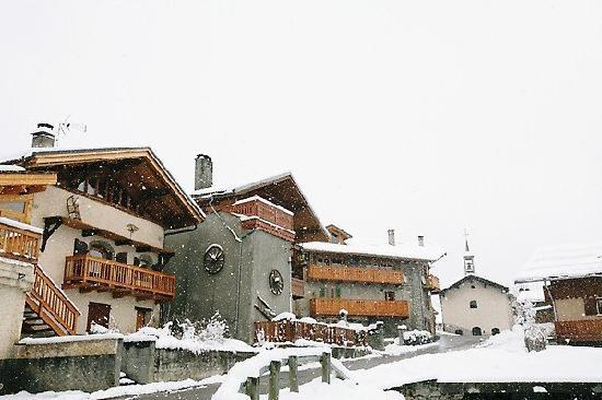 Bourg Saint Maurice, France : Snow in Tarentaise village