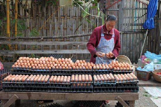 Luang Prabang, Laos: egg lady LP market