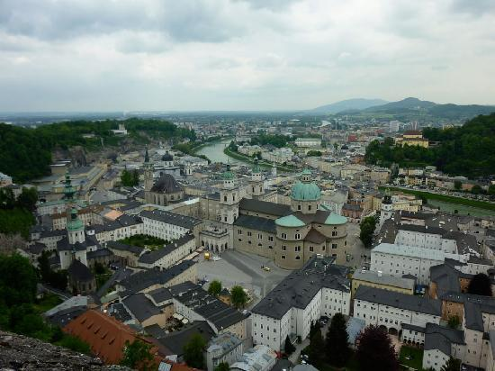 Salzburg, Austria: veiw looking back down to same square with gilded ball sculpture