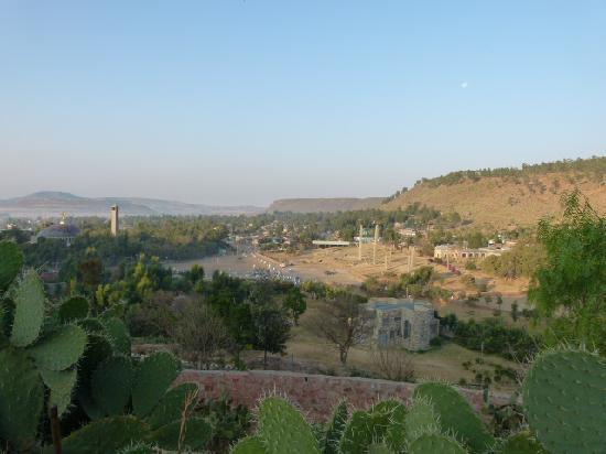 Aksum, Äthiopien: Ausblick von der Terrasse