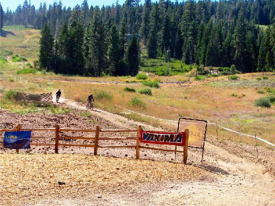 Truckee, Калифорния: Biking down to the main area