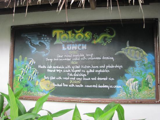 Atlantis Dive Resorts Dumaguete: Lunch menu